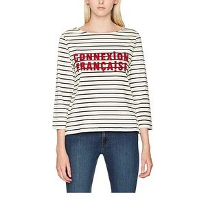 French Connection White Navy Stripped 3/4 Shirt